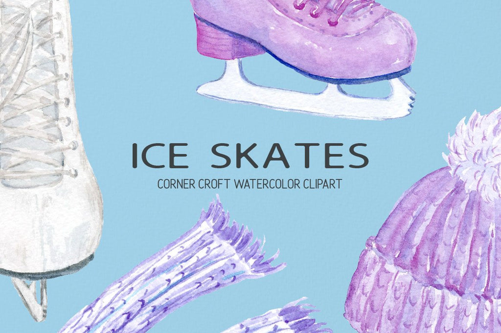 detailed watercolour illustration of ice skates scarf gloves and hats