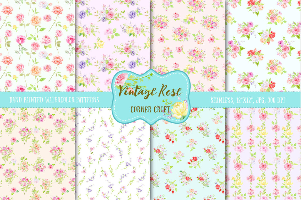 Watercolor Digital Paper Vintage Rose,  watercolor background, rose pattern, digital background, cottage rose pattern for instant download