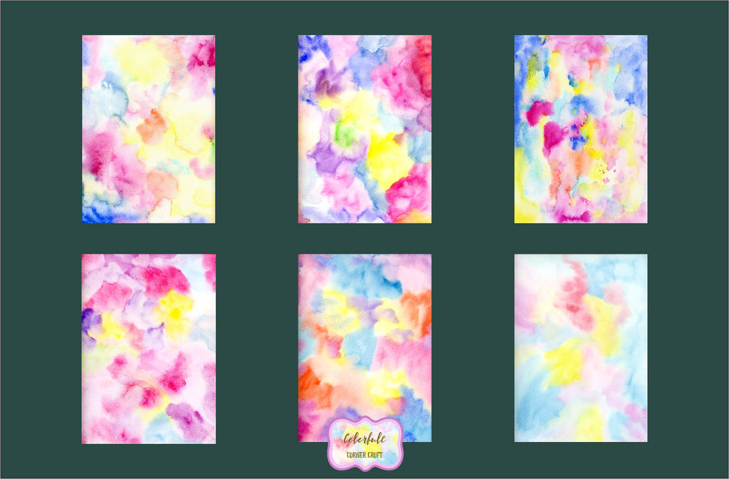 watercolor texture bright red, pink, blue and yellow, instant download