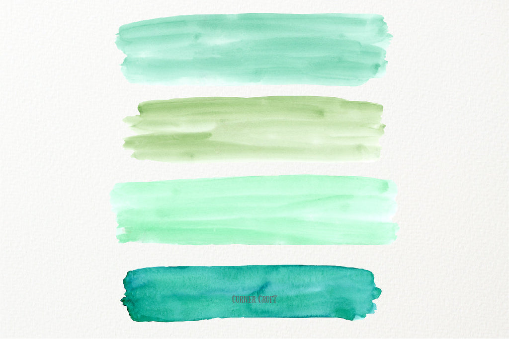 watercolor texture, watercolor green and yellow brush strokes, instant download