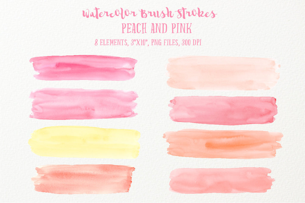 watercolor texture, watercolor clipart brush stroke peach and pink, instant download, design asset