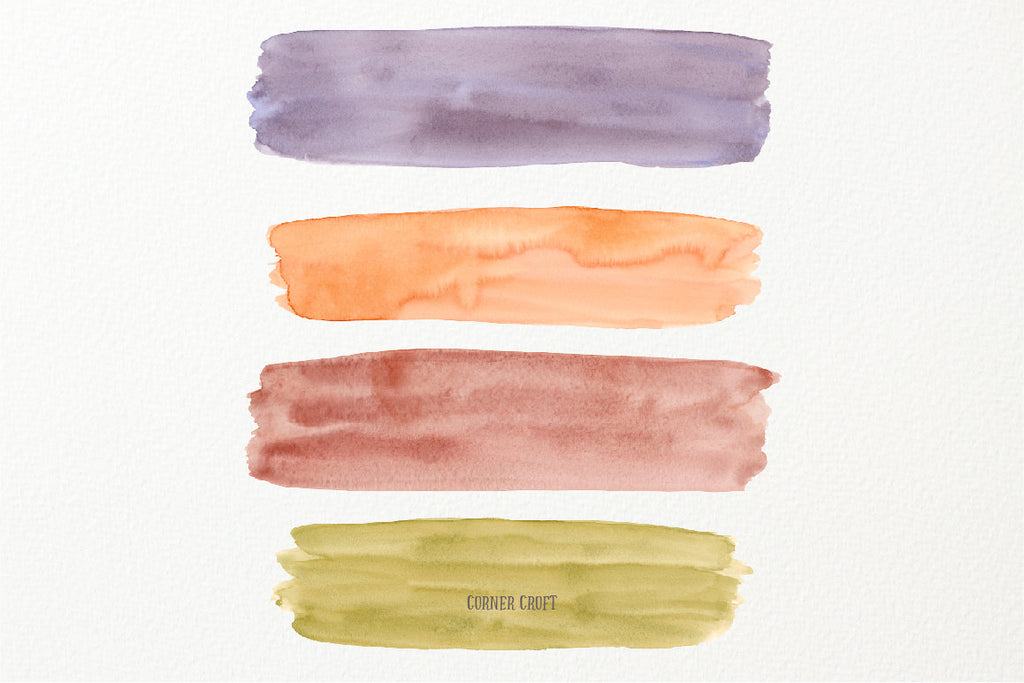 large woodland earthy themed watercolor brush strokes (yellow, brown, orange and deep red) for instant download