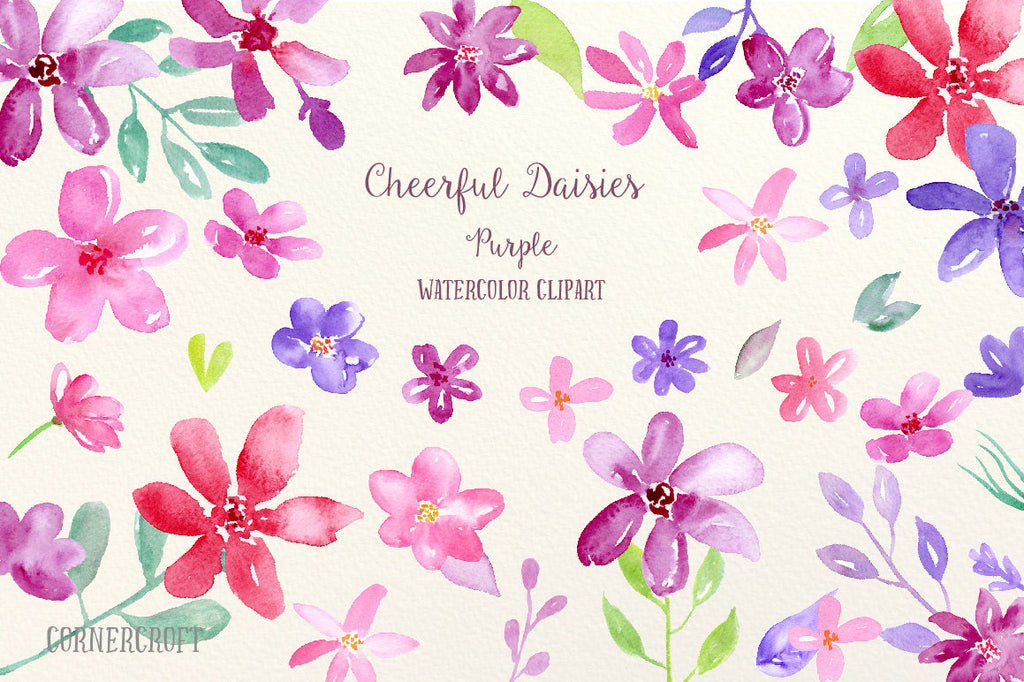 watercolor clipart purple daisy, cheerful daisy flowers for instant download