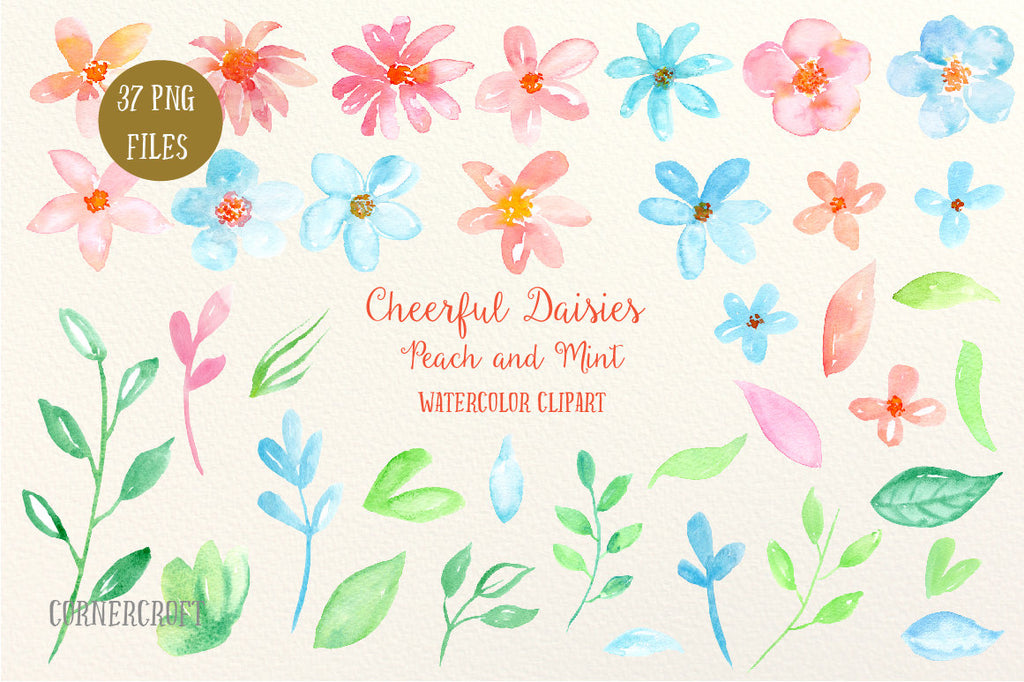 A collection of peach and mint themed daisy flowers and decorative elements for instant download