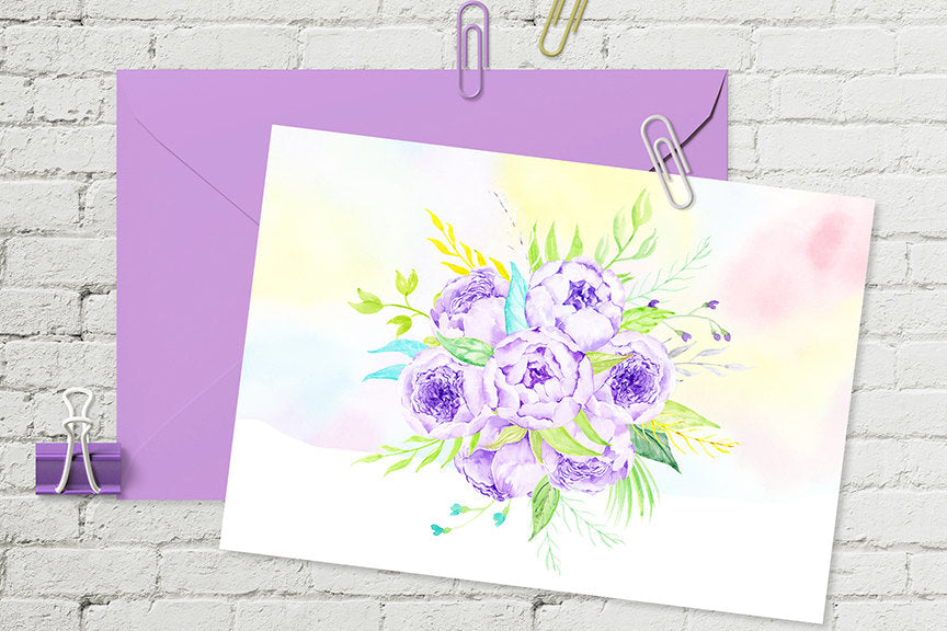 watercolor peony clipart, lilac peony, corner croft peony graphics