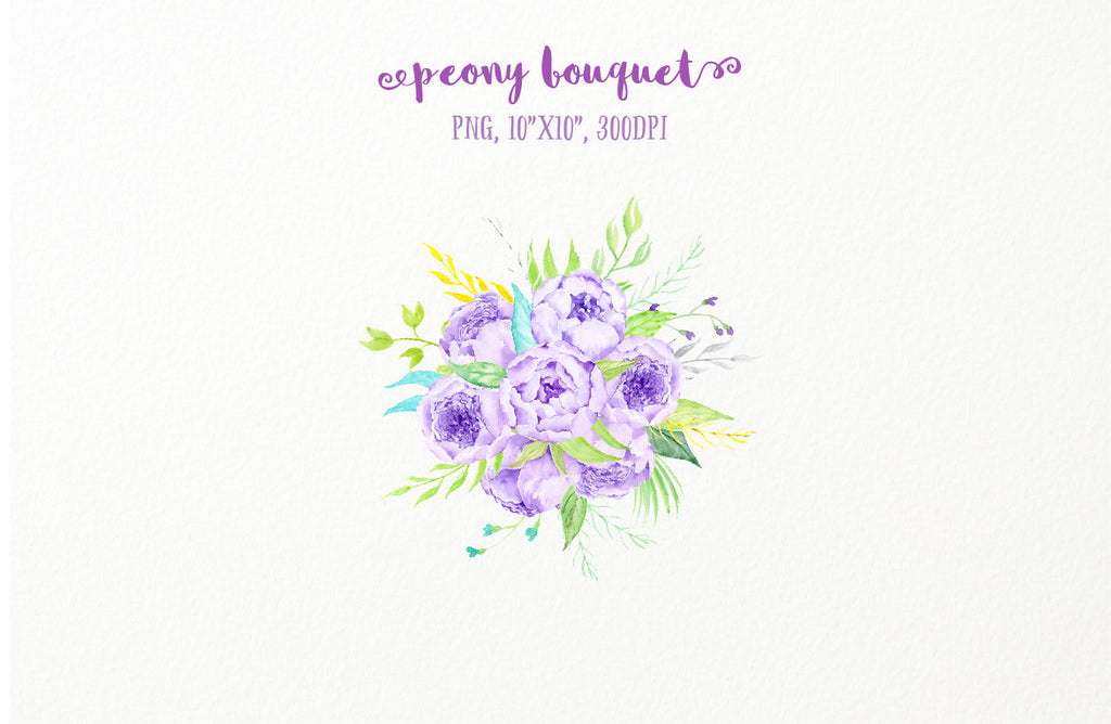 watercolour purple peony bouquet, instand download