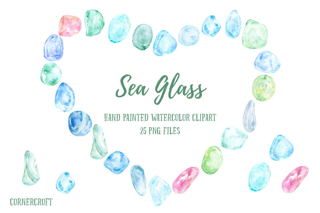 watercolor clipart sea glass, pink, blue, green and purple, instant download