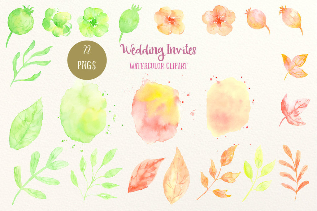 watercolor yellow and orange flower, instant download