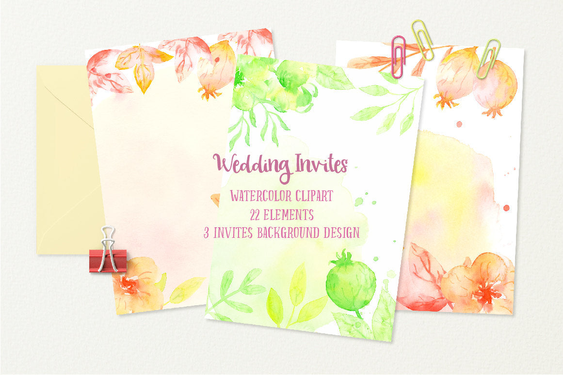 Watercolor Wedding Invitation Template Green And Orange Flowers Texture Background For Instant Download