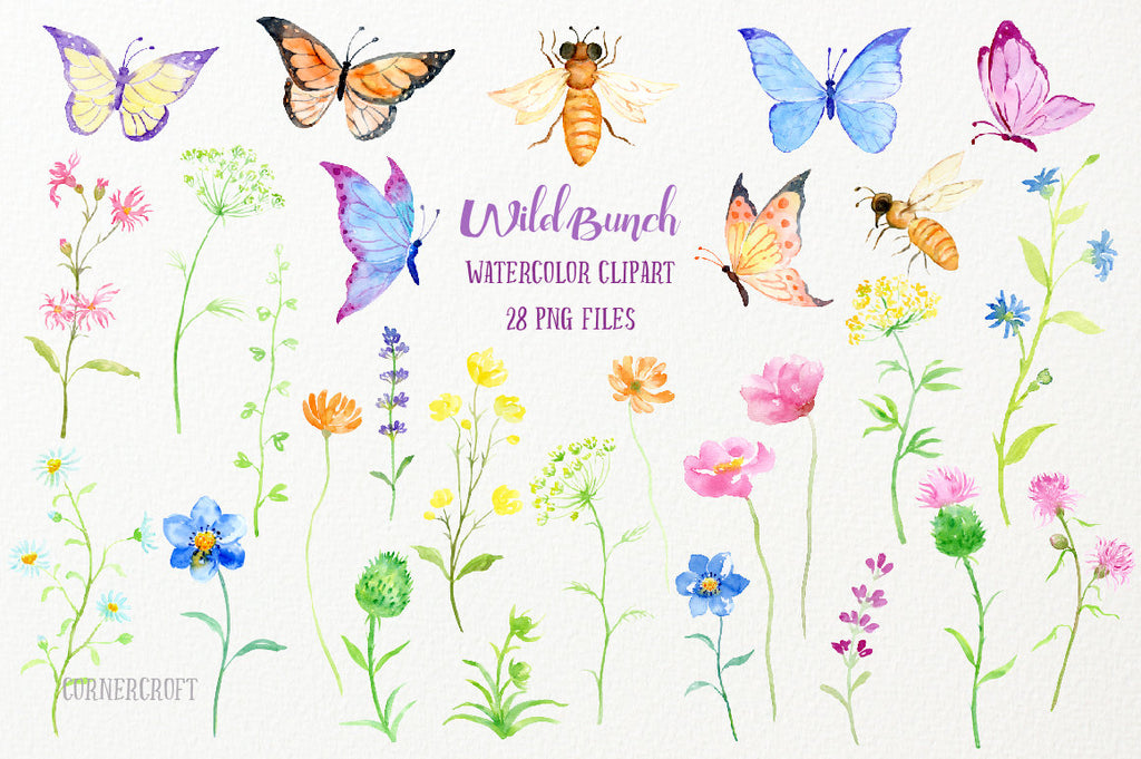 watercolor wildflower meadow, butterflies, bees, flower illustration