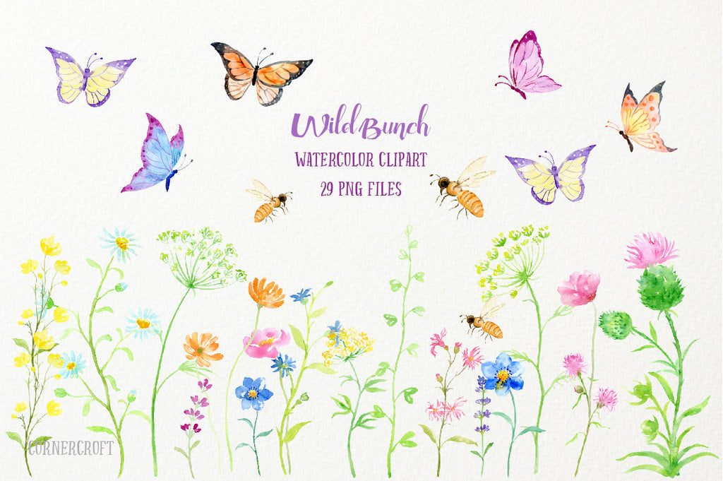 watercolor clipart wild bunch, wild flowers, butterfly, bee, pink flower, yellow flower
