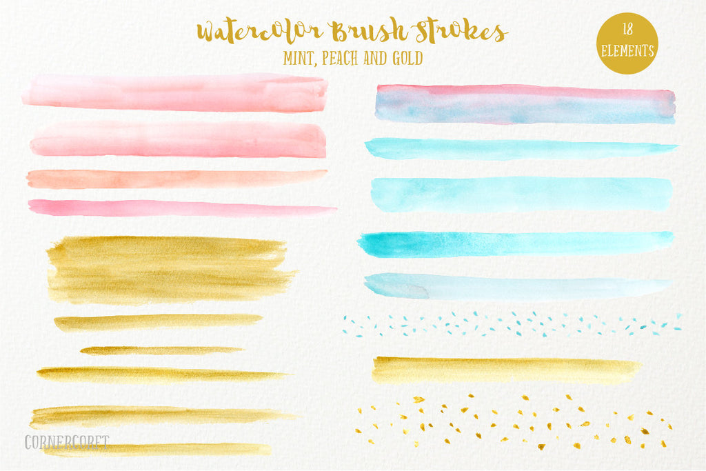 hand painted watercolor brush strokes and confetti in mint, peach and gold for instant download