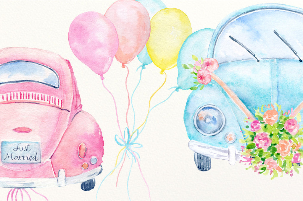 watercolor vintage car, pink car, wedding car, wedding invitations, corner croft illustration