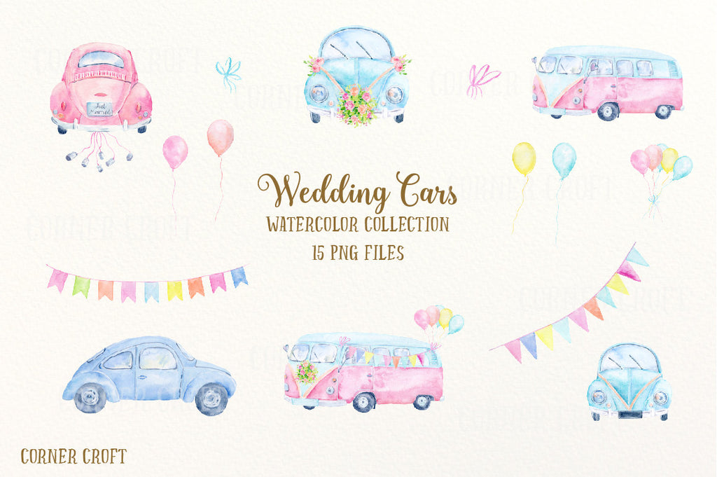 watercolour pastel buntings, blue bunting, balloon, wedding clip art,