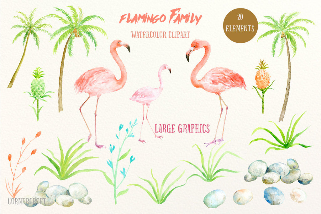 watercolor flamingo family, personalised my family print