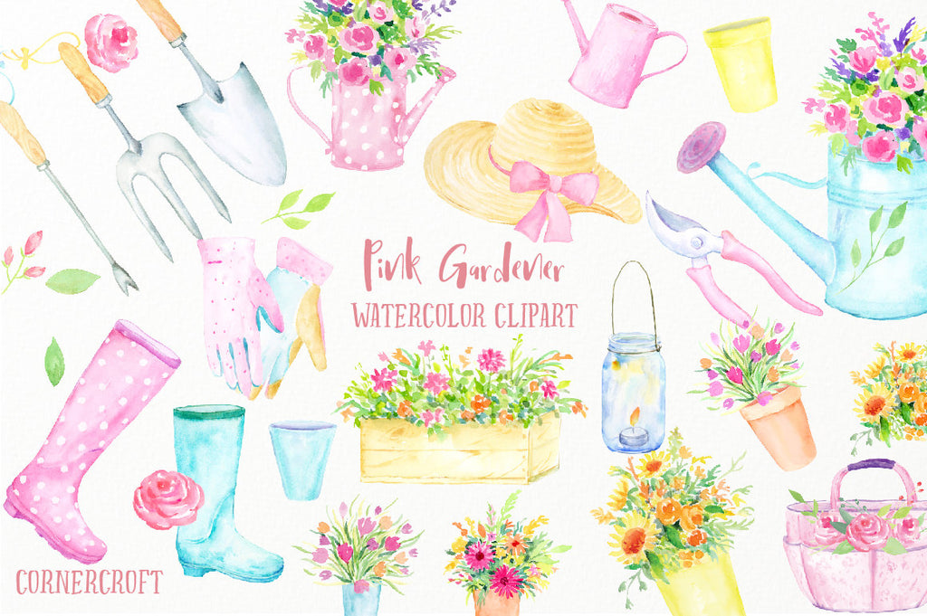 watercolor clipart pink gardener, watercolor pink theme garden tools (fork, trowel, Secateur), garden hat, wellington boots, watering cans, gloves, flower pots