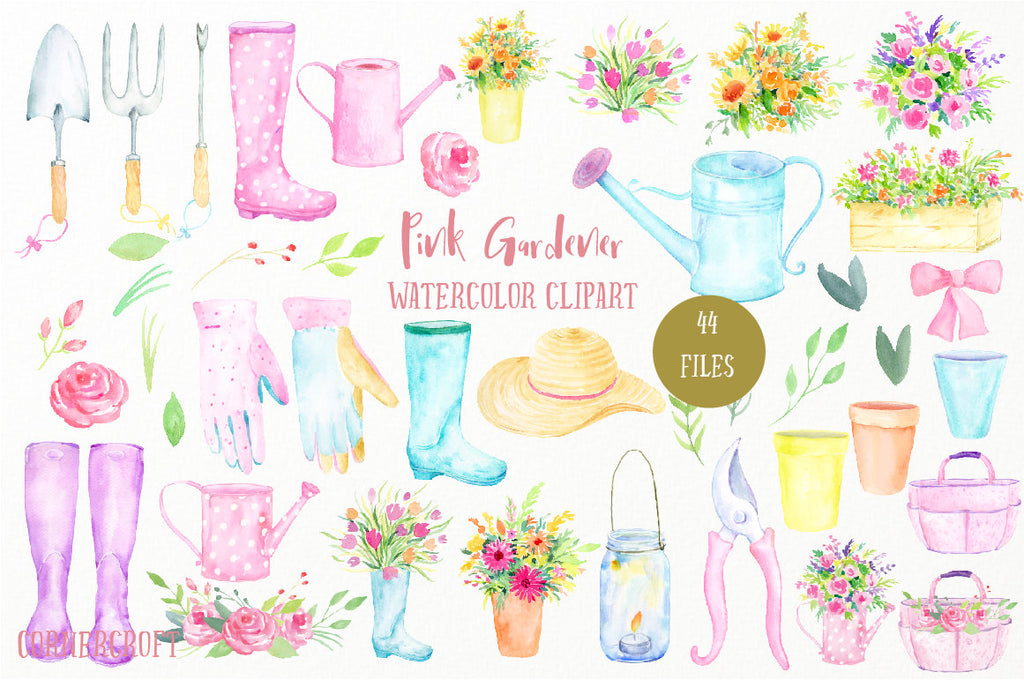 watercolor illustration of pink garden tools, watercolor pink theme garden tools (fork, trowel, Secateur), garden hat, wellington boots, watering cans, gloves, flower pots