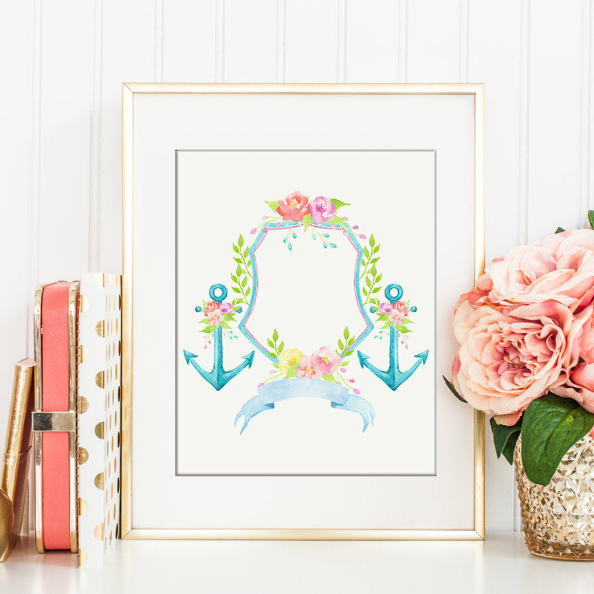 Watercolor Floral Anchor Crest for Instant Download, wedding crest, family crest, crest printable.