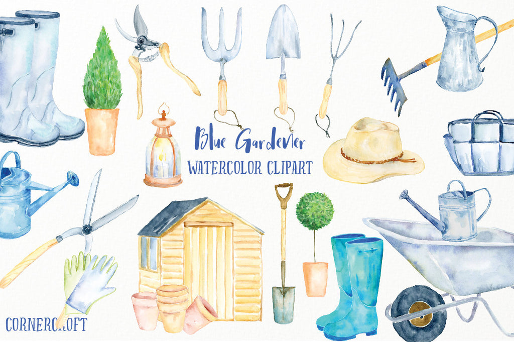 watercolor clipart blue gardener, mens garden shed and garden tools, instant download