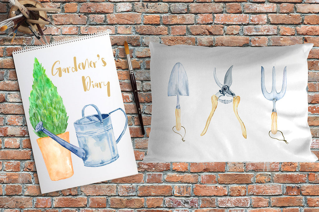 garden tools clipart, watercolor illustration of garden tools for men