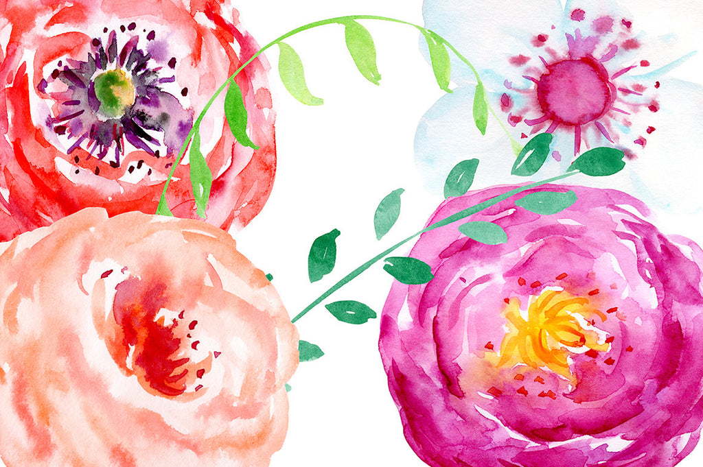 watercolor summer flowers, red flower, white flower, purple flower, instant download