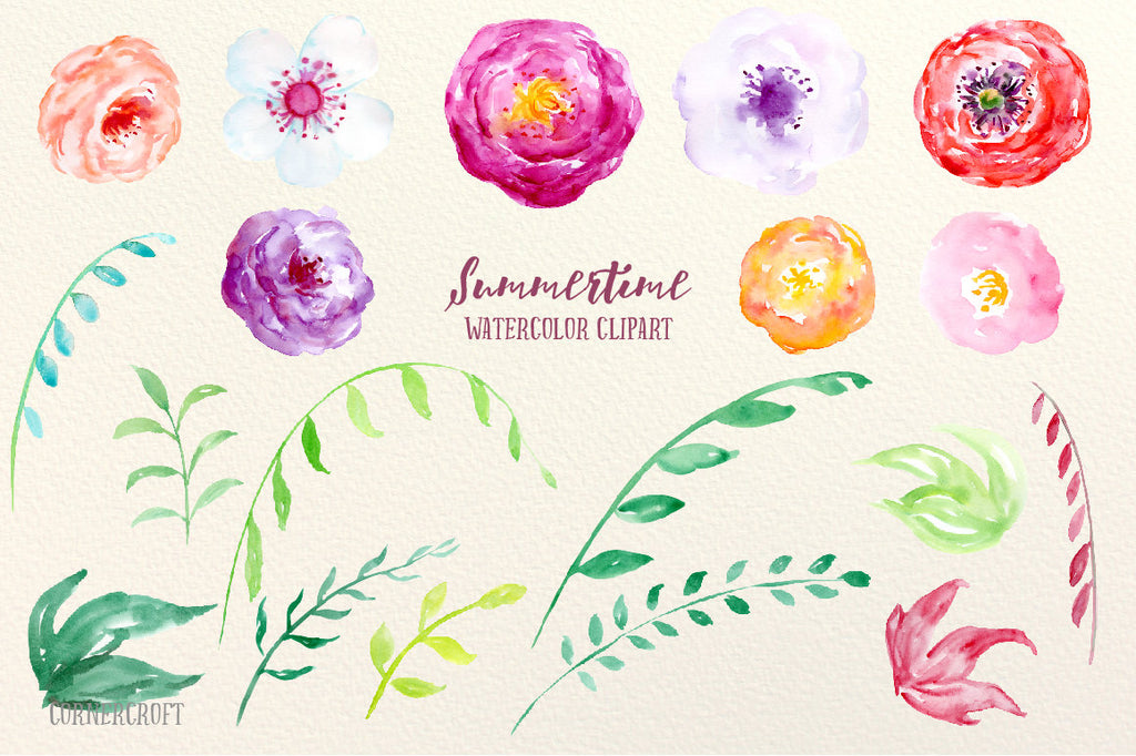 watercolor floral illustration, bright summer flowers, summer time.