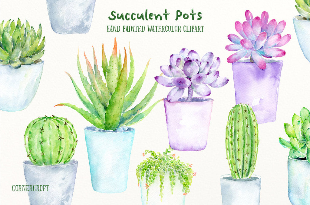 watercolor green, pink and purple succulent plants and cactus in contemporary blue and gray pots for instant download