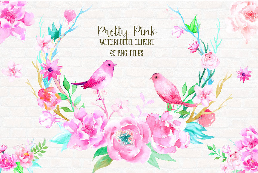 watercolor clipart pink peony, pink birds, wedding clipart, peony clipart