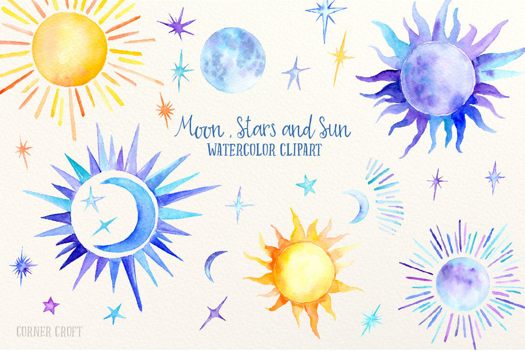 watercolor clipart sun, moon and stars