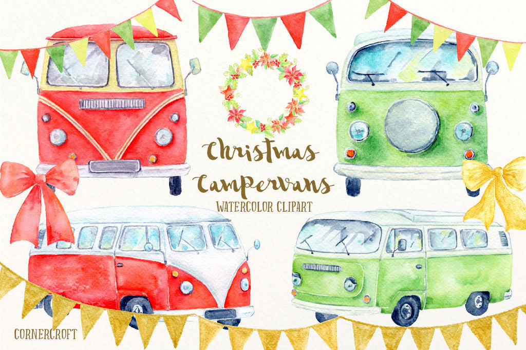 watercolor campervan, green camper van, red camper van, camper van illustration, leisure vehicle