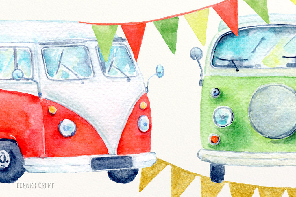 watercolour motor home, red and green leisure vehicles, instant download.