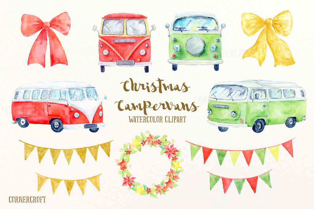red camper van, green campervan, vintage leisure vehicle, Christmas clipart, digital image
