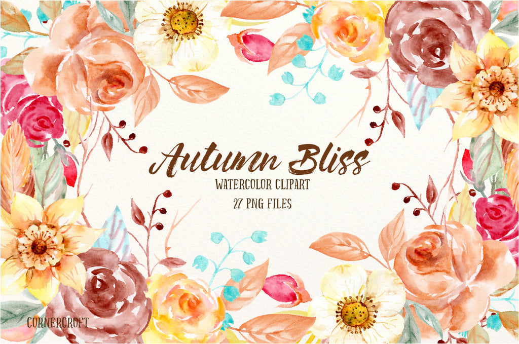 watercolor clipart autumn bliss, brown flower, yellow flower, orange flower.