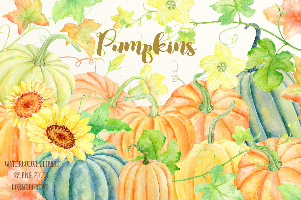 Watercolor clipart Pumpkins for instant download, yellow, gold and green pumpkin instant download