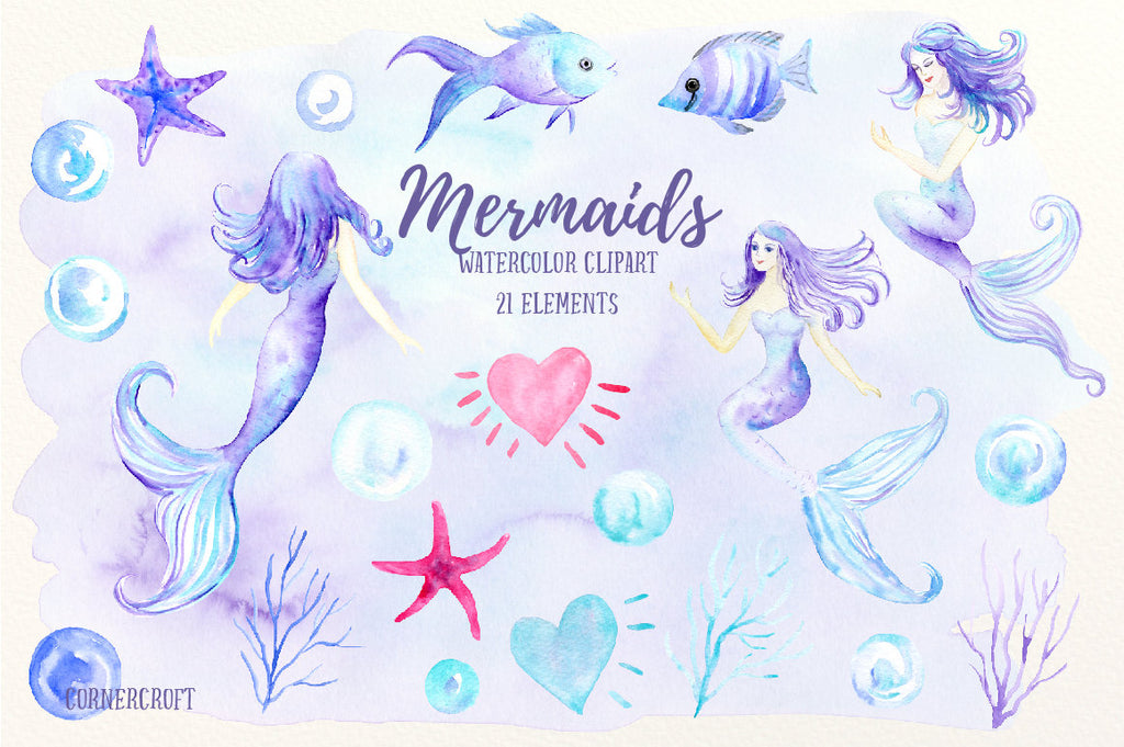 watercolor clipart mermaid, mermaid illustration, sea creatures, nursery prints