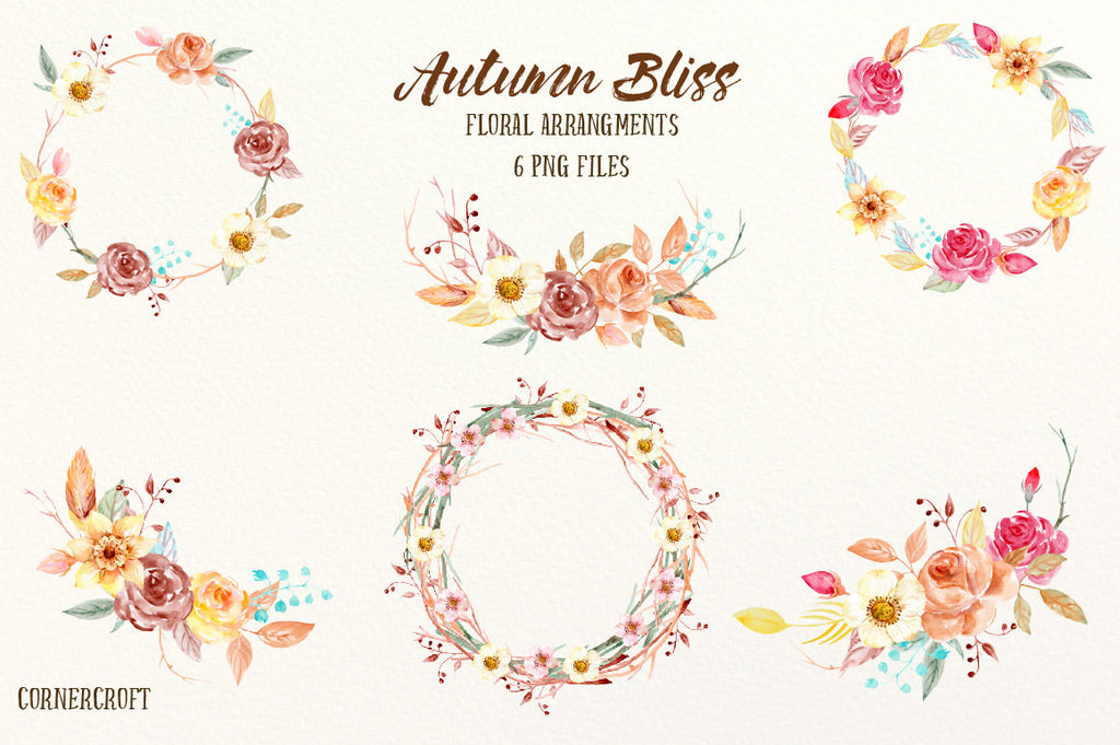 watercolor autumn wreath, fall color wreath instant download