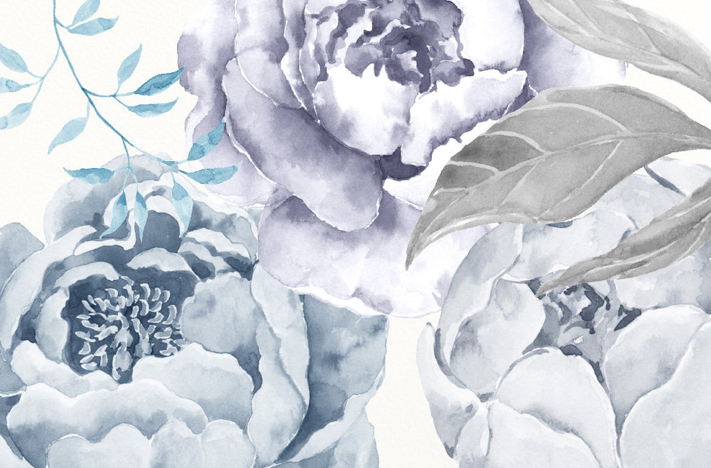 watercolor wedding peony, grey peony clipart, grey flower