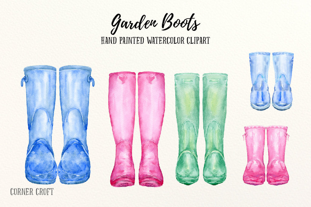 Watercolor garden boots clipart, watercolour wellies, watercolour wellington boots, instant download