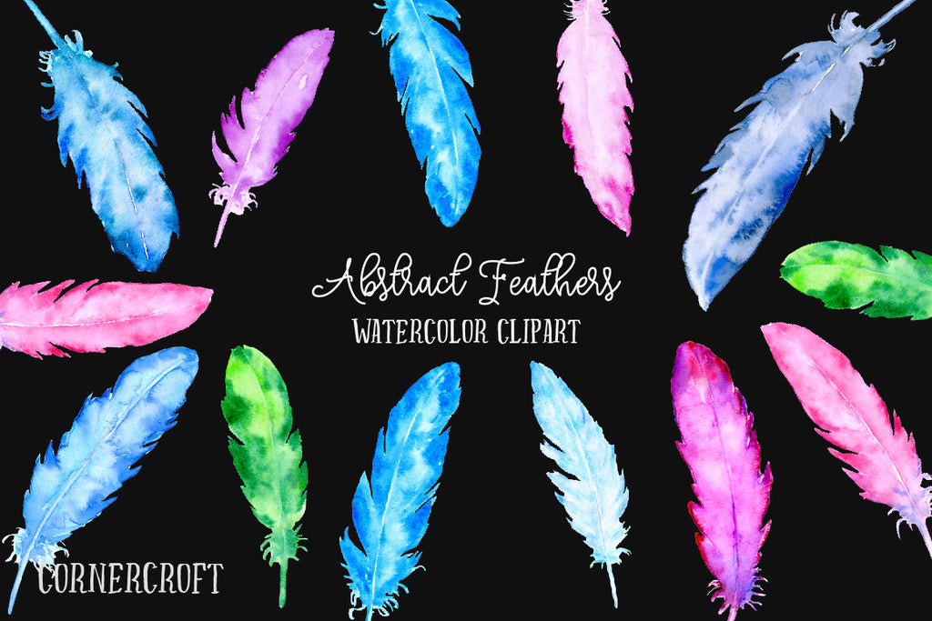 watercolour feather illustration, boho feathers.