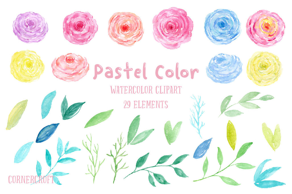 Watercolor Clipart Pastel Color, pink, blue, yellow and purple flowers,instant download