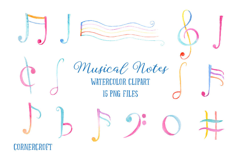 watercolor clipart music notes, instant download