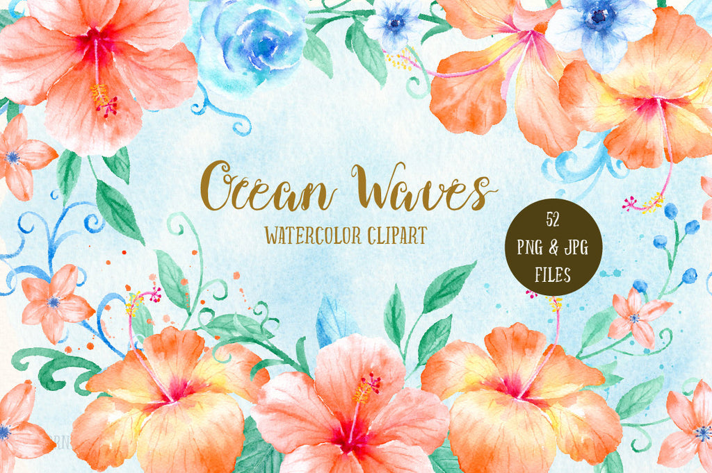 watercolor orange hibiscus, blue roses, swirls and curls, decorative elements,