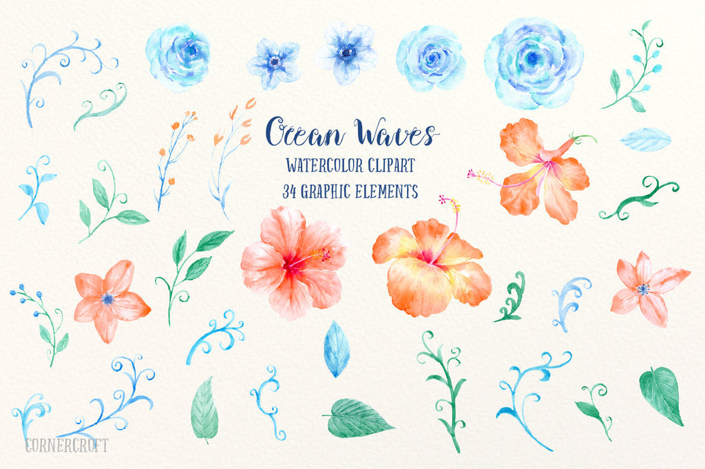watercolor orange hibiscus, blue roses, swirls and curls, decorative elements,  instant download