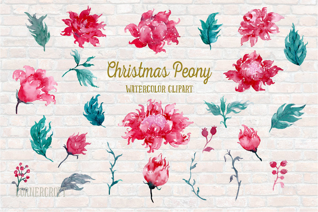 Watercolor Clipart Christmas Peonies, red peony, crimson peony, festive peony and floral arrangements for instant download