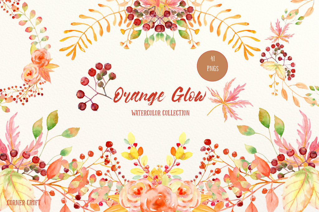 Hand painted watercolor clipart, autumn themed orange and golden leaves, flowers, berries and decorative elements for instant download.