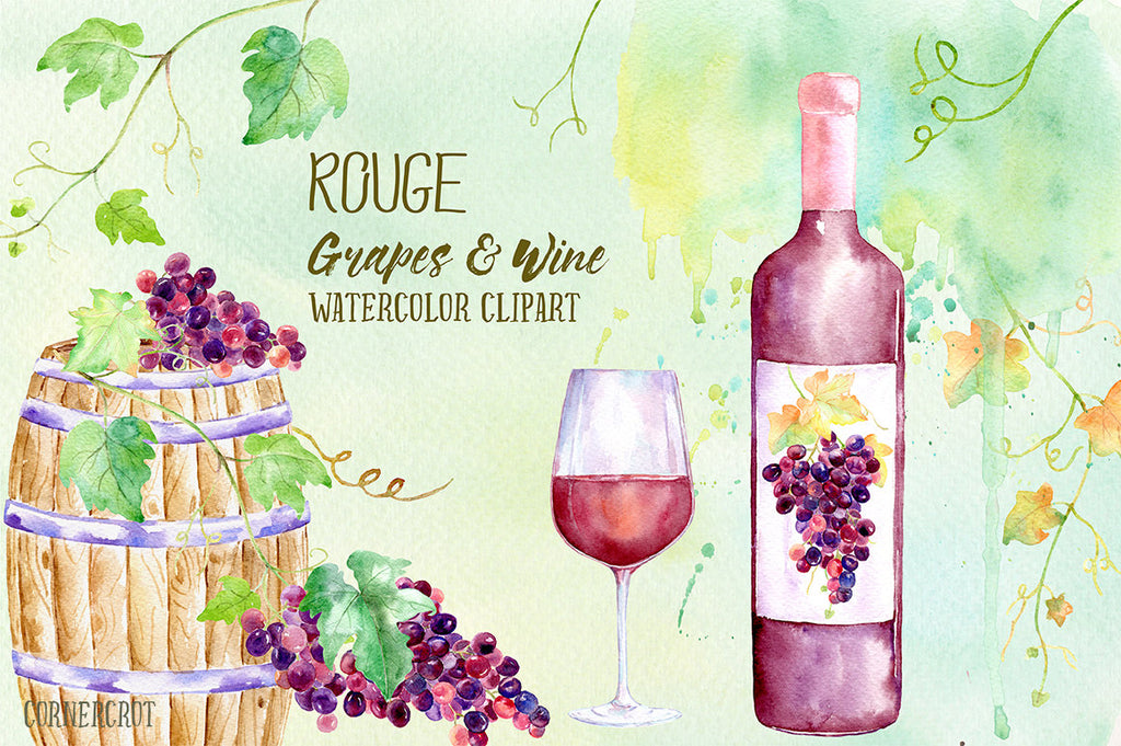 Watercolor Rouge Grapes and Wine, red grapes, vines, bottle of red wine, wine barrel, glass wine, printable for instant download