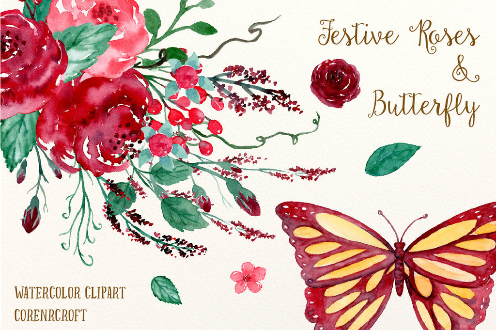 Hand painted watercolor red roses, crimson flowers, Christmas flowers, butterfly, flower arrangements for instant download
