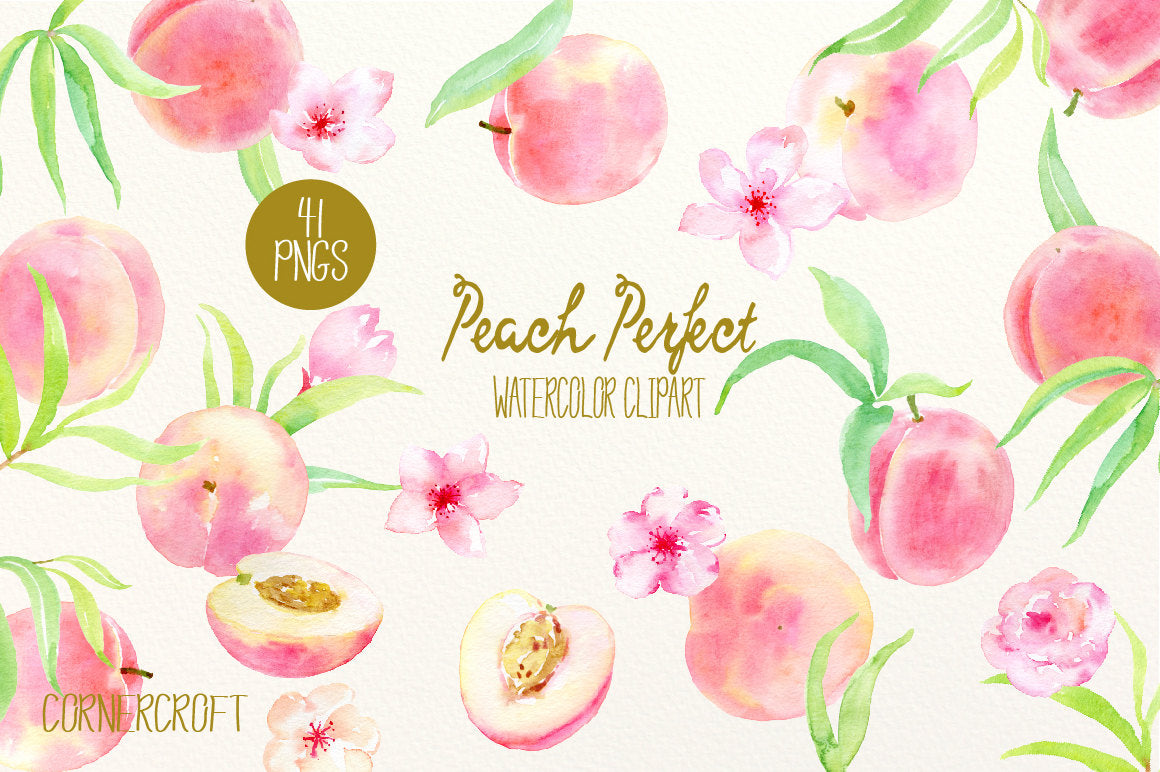 Watercolor Clipart Peach Perfect Peaches Pink Flowers And Leaves