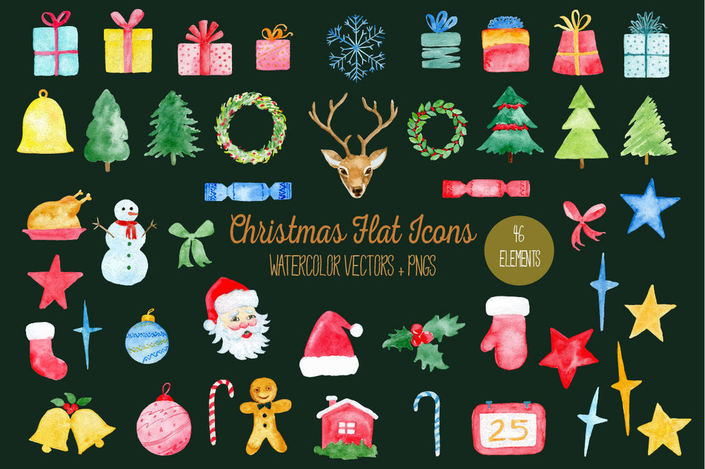 Watercolor Christmas Flat Icons, PNG AND VECTOR, Christmas decorations, christmas tree, wreath, snowman, christmas clipart,instant download