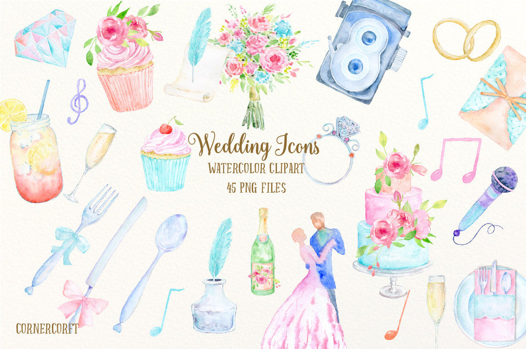 Watercolor wedding icons, wedding cake, cup cakes, vintage camera, wedding invitations, notes, ink and paper, champagne and glasses, wedding bouquet, bride and groom dance, music, disco